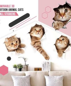 Removable 3D Cartoon Animal Cats Wall Stickers 2PCS